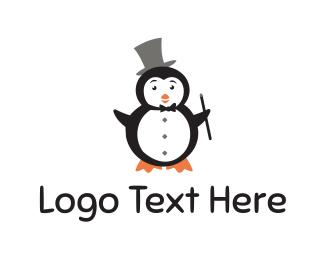 Magic - Magician Penguin logo design