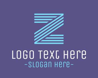 Lettermark Z - Striped Blue Letter Z logo design