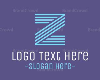 Lettermark Z - Striped Blue Z logo design