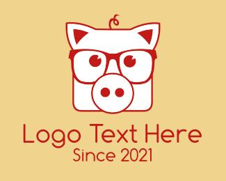Pig - Hipster Pig Glasses logo design