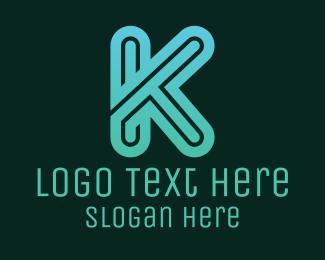 Gamer - Blue K Letter logo design