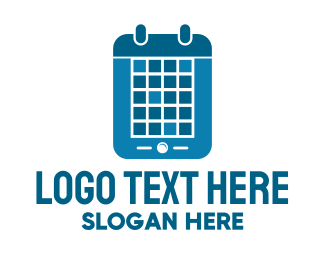 Events - Blue Mobile Calendar logo design