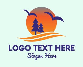 Camping Site - Sunset Pine Tree logo design