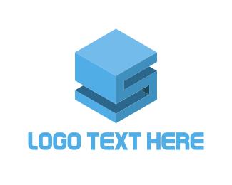3d Printing - Cube Letter S logo design