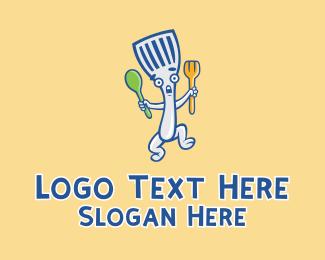 Diner - Spatula Diner Cartoon logo design