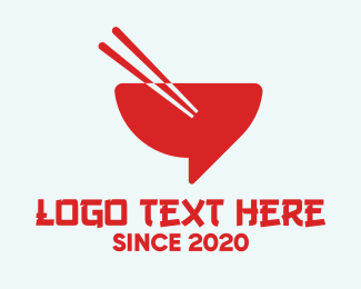 Takeout - Red Chopsticks Bowl logo design