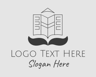Business - Gray Newspaper Mustache  logo design