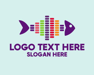 Sound Bar - Colorful Audio Fish logo design
