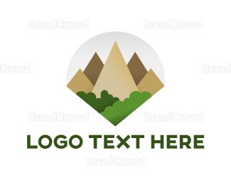 Environmental - Geometric Mountain Tree logo design