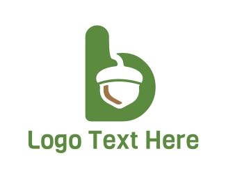 Walnut - Acorn Green Letter B logo design