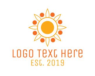 Solar Energy - Modern Sun Flower Outline logo design