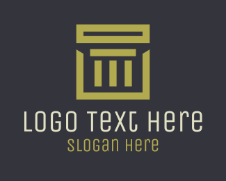 Traditional - Gold Square Pillar Company logo design