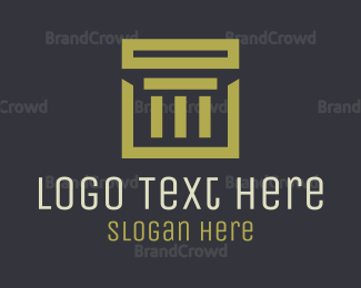 Traditional - Gold Square Pillar Company logo design
