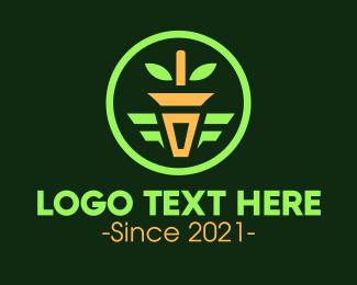 Pot Plant - Potted Plant Circle Emblem logo design