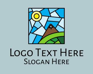 Church Window - Scenic Mountain Mosaic  logo design