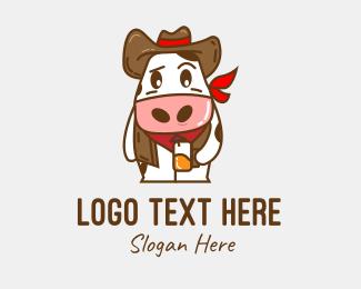 Meat Store - Cute Cowboy Mascot logo design