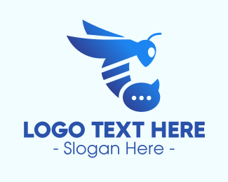 Stinger - Blue Wasp Stinger logo design