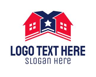 Home Builder - Star House Builder logo design