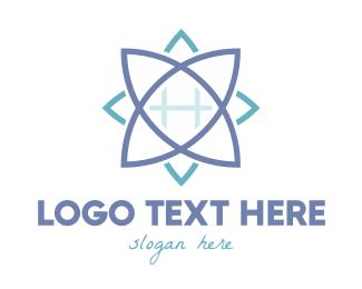 Grid - Blue Grid Lotus logo design