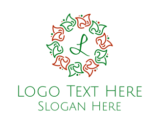Christmas - Christmas Flowers Lettermark  logo design