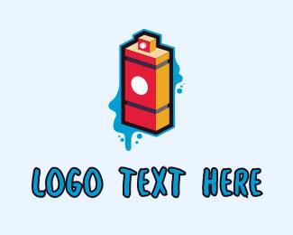 3d Style - 3D Spray Can logo design