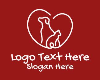Red Cat - Cat Dog Pet Love  logo design