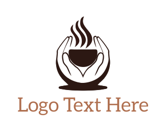 Soup - Hands Holding Steaming Cup logo design