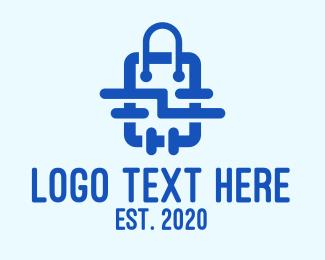 Shop - Blue Shopping Bag logo design