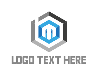 Up - Hexagonal Letter M logo design