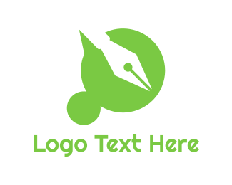 Messaging - Green Dot pen logo design