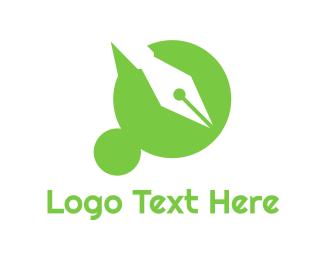 Notary - Green Dot pen logo design
