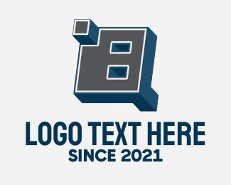 Blocky - 3D Graffiti Letter B  logo design