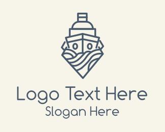 Cruise Ship - Blue Ship Monoline logo design