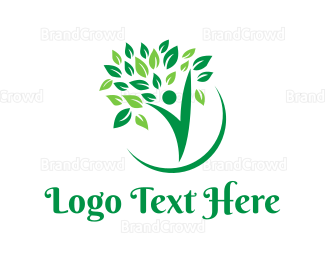 Botanical - Green V Tree logo design
