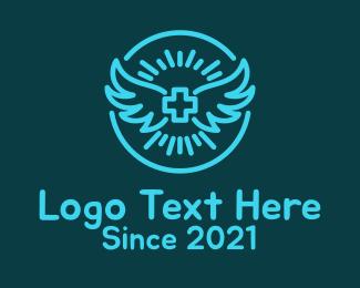 Health Care Worker - Blue Wing Cross logo design