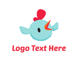 Farm - Blue Chicken Cartoon logo design
