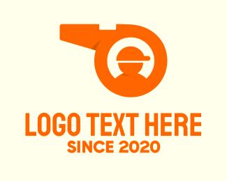Trainer - Orange Coaching Whistle logo design