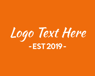 Italic - Orange & White Text logo design