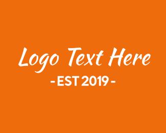 Typography - Orange & White Text logo design