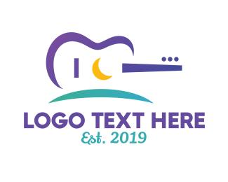 Song Writer - Guitar Landscape Stroke logo design