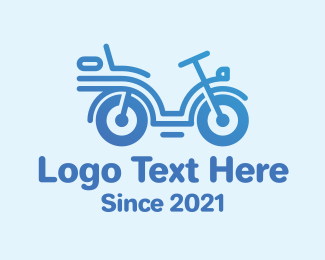 Blue Cool Motorcycle Logo