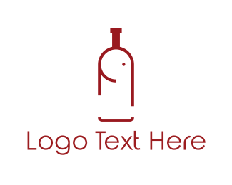 Red Wine - Elephant Bottle logo design