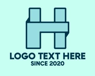 Arts And Crafts - Blue Origami Letter H  logo design