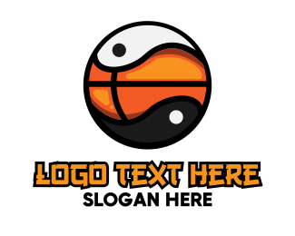 Court - Basketball Yin Yang logo design
