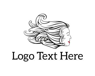 Makeup - Woman Hair logo design