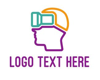 5d - Colorful VR Head Outline logo design