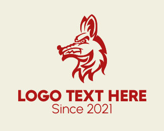 Coyote - Angry Coyote Animal logo design