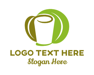 Green Wine - White Glass & Green Leaves logo design