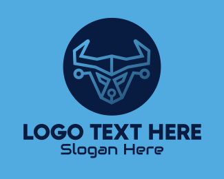 Bison - Blue Bull Technology logo design