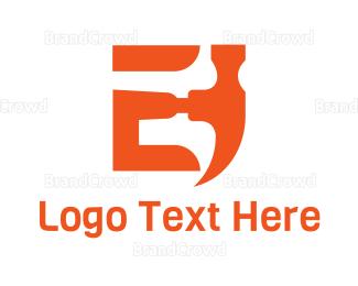 Demolish - Hammer Letter E logo design